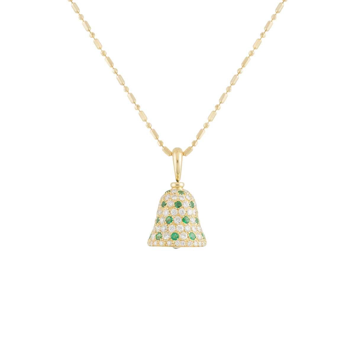 Yellow Gold Diamond and Emerald Bell Pendant